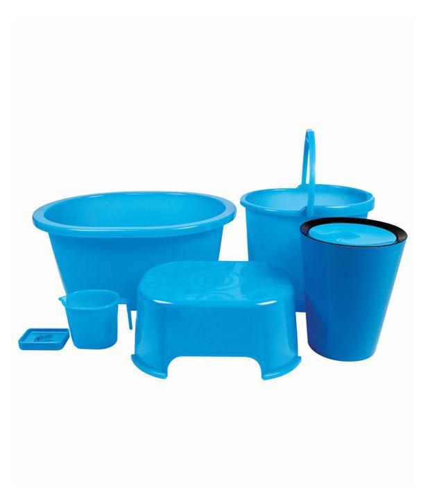 Buy Varmora Blue Virgin Plastic Bath Sets Set Of 6 Online