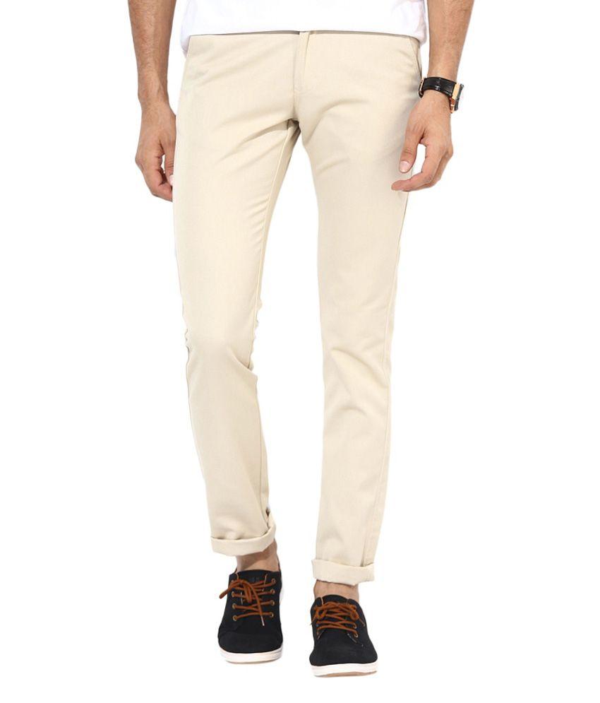 BUKKL  Slim Fit Cream Cotton Trouser for men