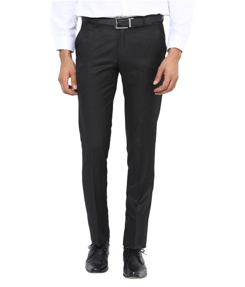BUKKL Black Slim Flat Trouser