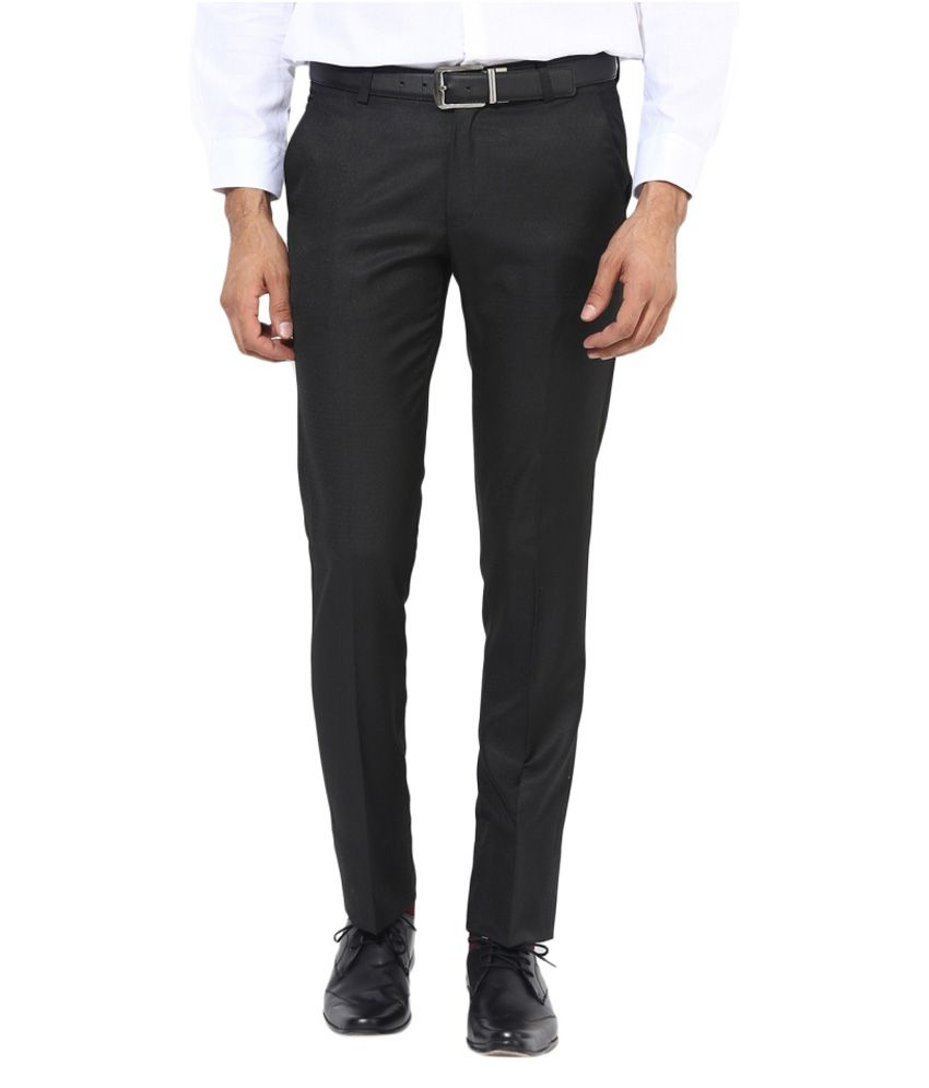 BUKKL Black Slim Flat Trouser