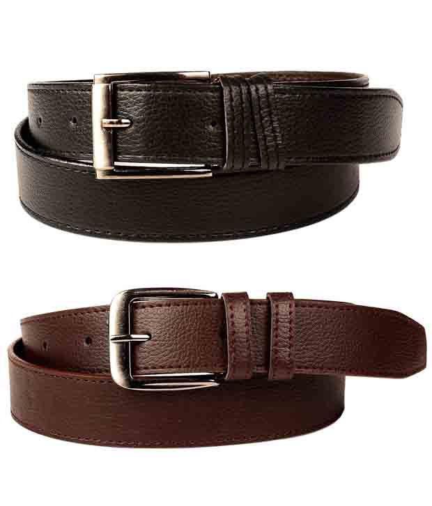 Fedrigo Black & Brown Stylish Belts - Combo Of 2