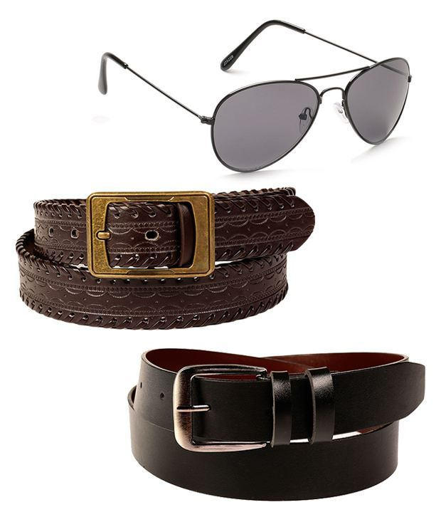 Fedrigo Exclusive Combo Of Black & Brown Belts With Unisex Aviator Sunglasses