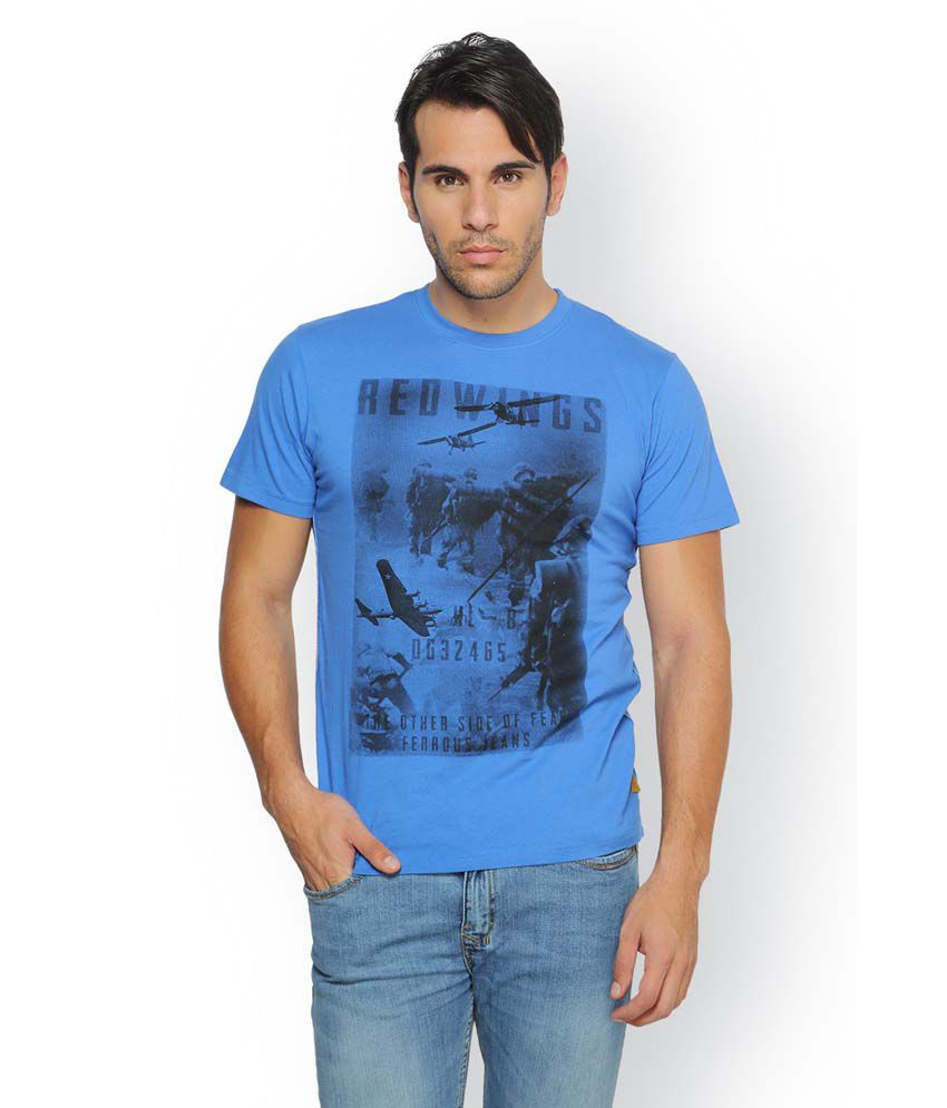 Ferrous Blue Cotton Round Neck Half Sleeve Printed T-Shirt