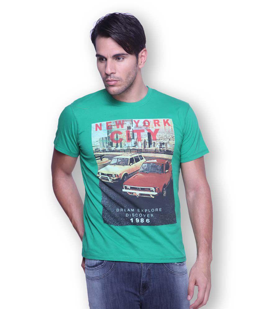 Ferrous Green Cotton Round Neck Half Sleeve Printed T-Shirt