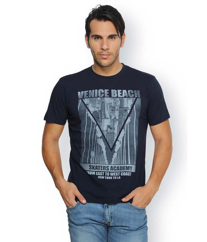 Ferrous Navy Cotton Round Neck Half Sleeve Printed T-Shirt