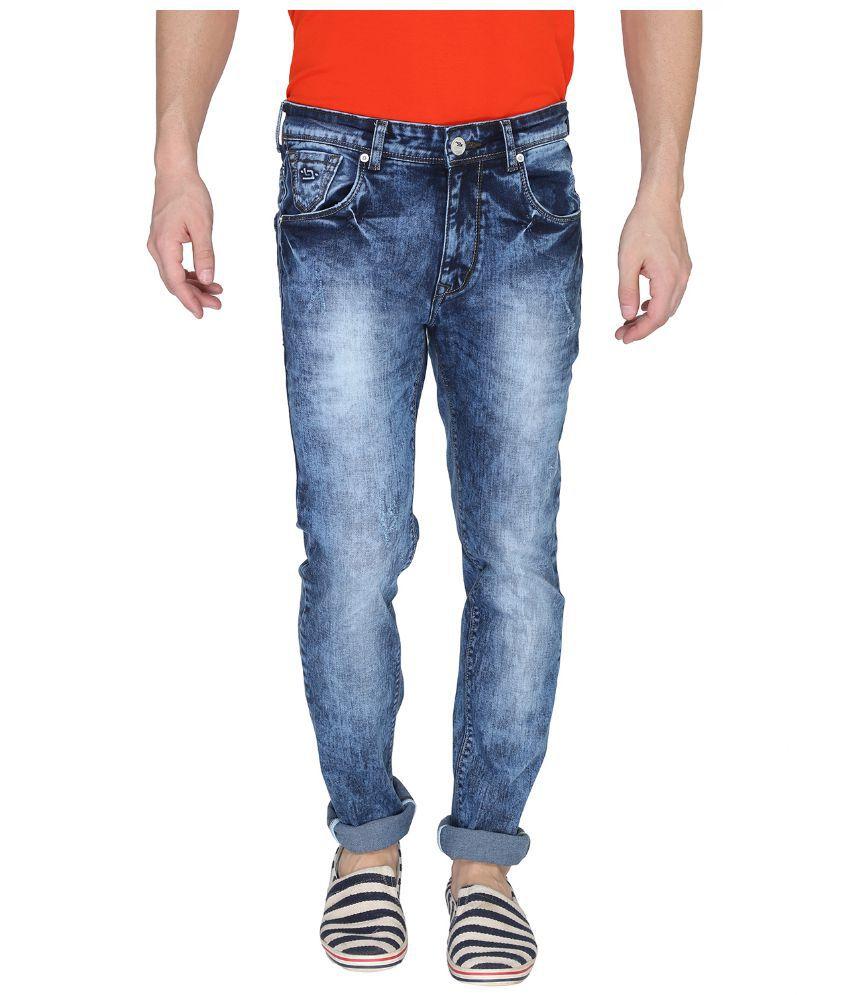 Leonidas Blue Cotton Slim Jeans For Men