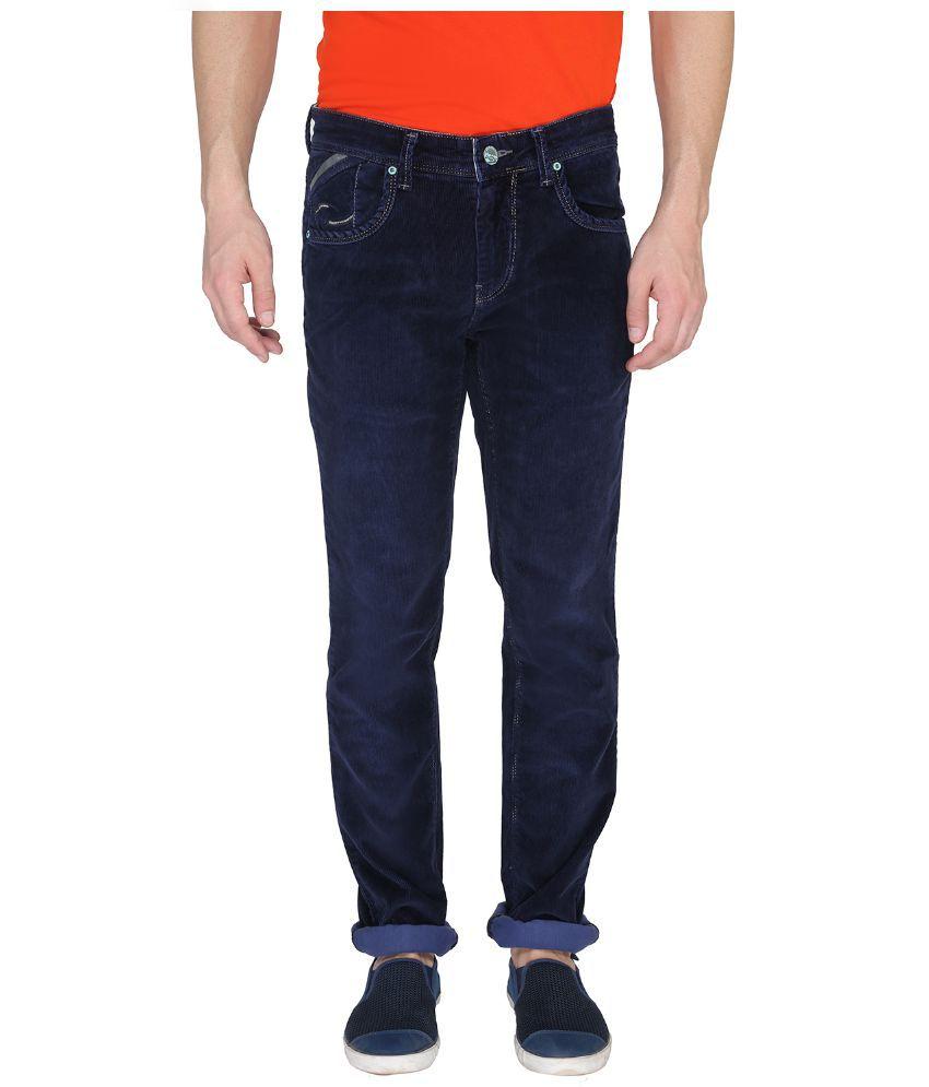 Leonidas Navy Cotton Slim Jeans For Men