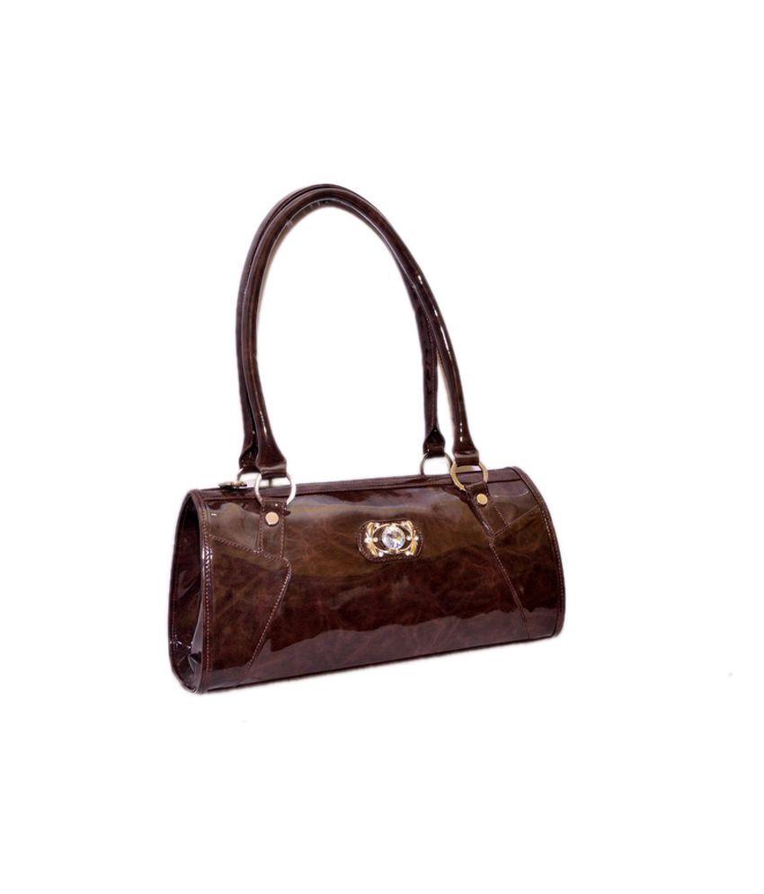 Quick Shoppee Brown P.u. Satchel Bag For Women