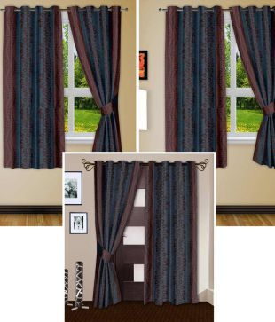 Story@Home Set Of 6 (4 Window + 2 Door) Eyelet Curtains Contemporary