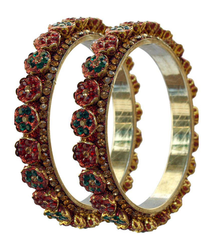Bangles 2 Piece Floral Stone Kada - Red & Green