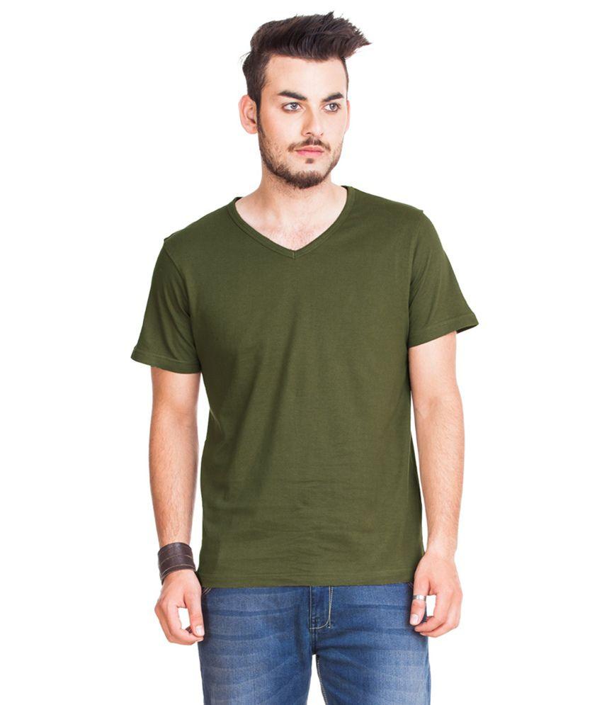 GTN Green Cotton Round Neck Half Sleeve Basics T-Shirt