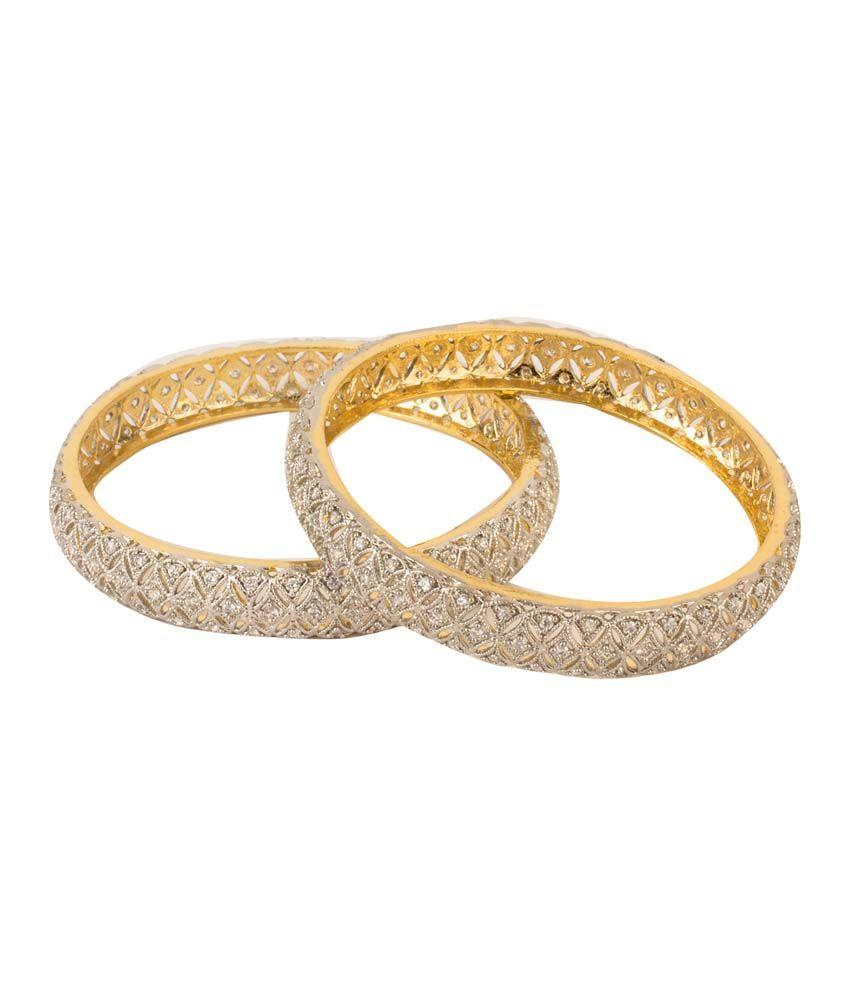 Kaira Golden Alloy American Diamonds Adjustable Toggle Bangles Combo