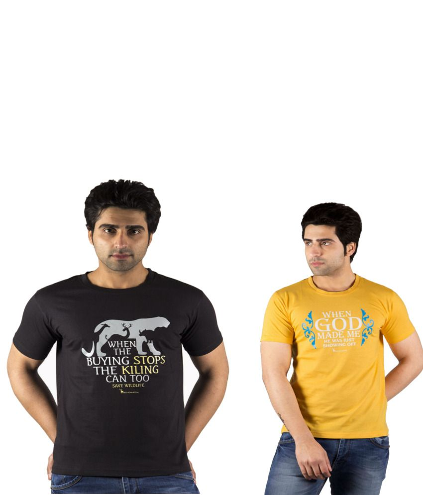 Schonheits Combo of Black And Yellow Blended Cotton T-shirts