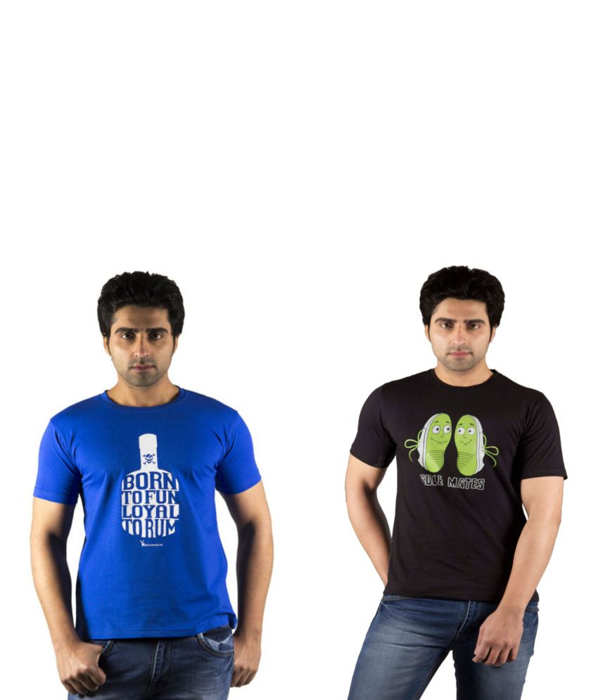 Schonheits Combo of Black And Blue Blended Cotton T-shirts