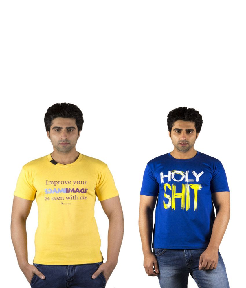 Schonheits Combo of Blue And Yellow Blended Cotton T-shirts