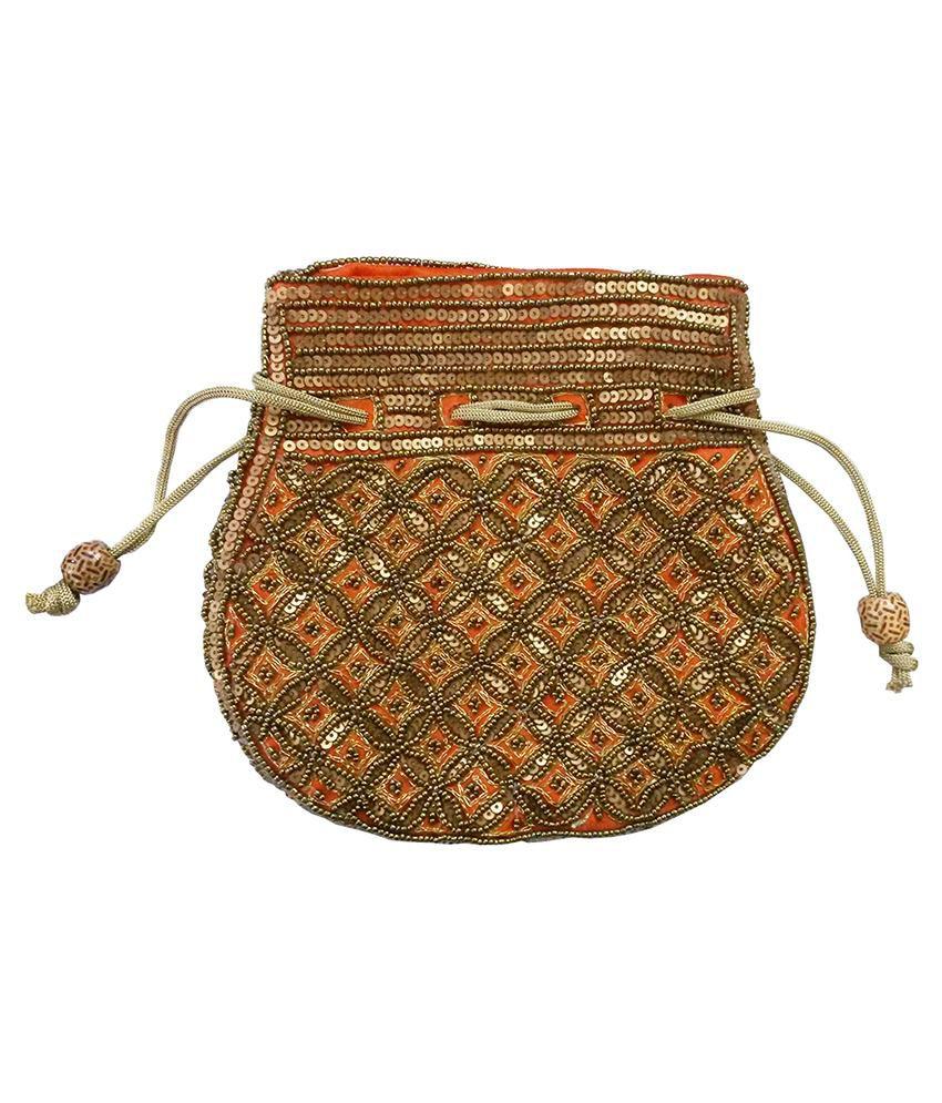 Shopkiks Silk Potli with Beadwork by Hand - Orange