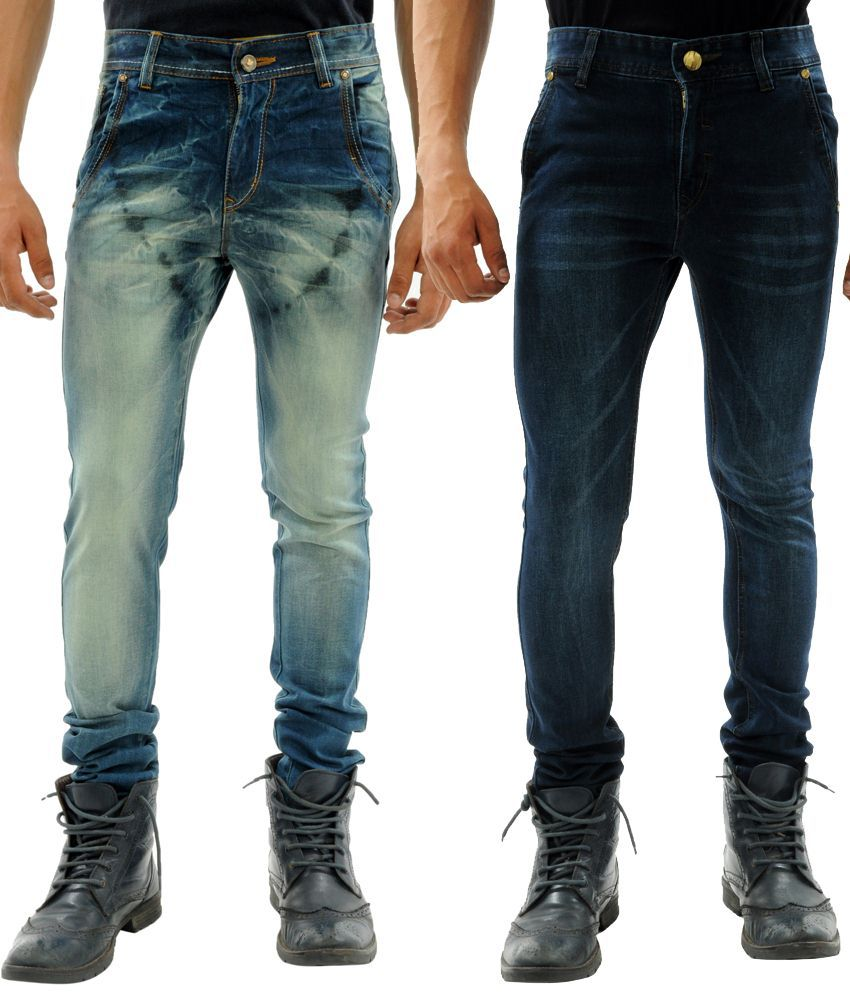 Sny Hind Outfitters Amazing Combo of 2 Blue Slim Fit Jeans for Men