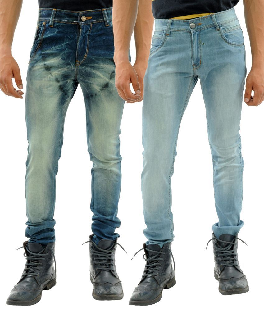 Sny Hind Outfitters Ideal Combo of 2 Blue Slim Fit Jeans for Men