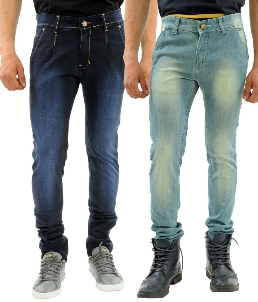 Sny Hind Outfitters Mind Blowing Combo of 2 Blue Slim Fit Jeans for Men