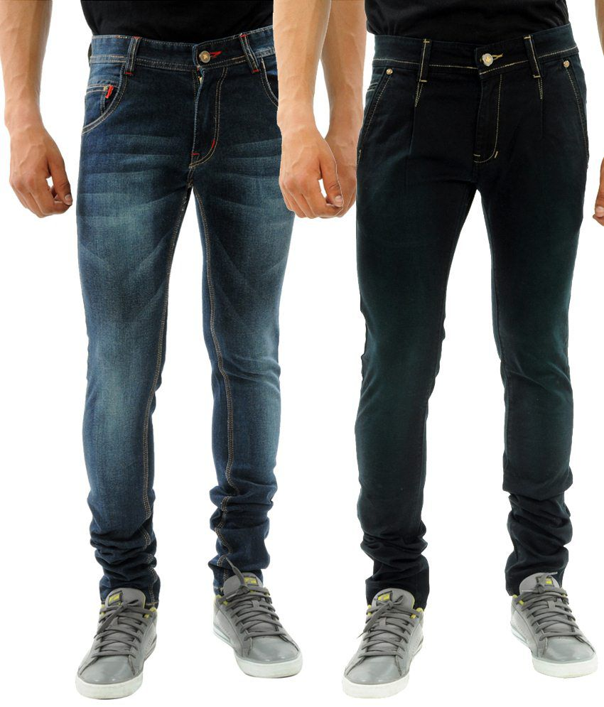 Sny Hind Outfitters Striking Combo of 2 Black & Blue Slim Fit Jeans for Men