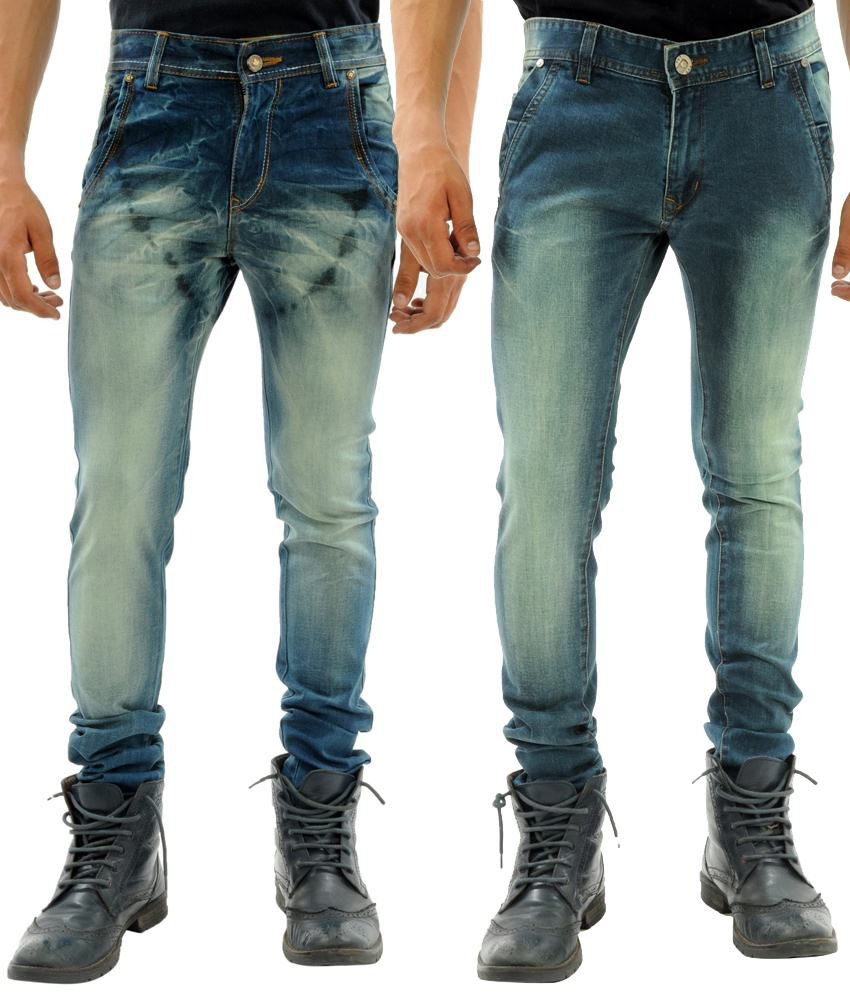 Sny Hind Outfitters Stylish Combo of 2 Light Blue & Dark Blue Slim Fit Jeans for Men