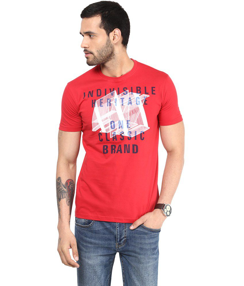 Richlook Cotton Red Round T Shirt