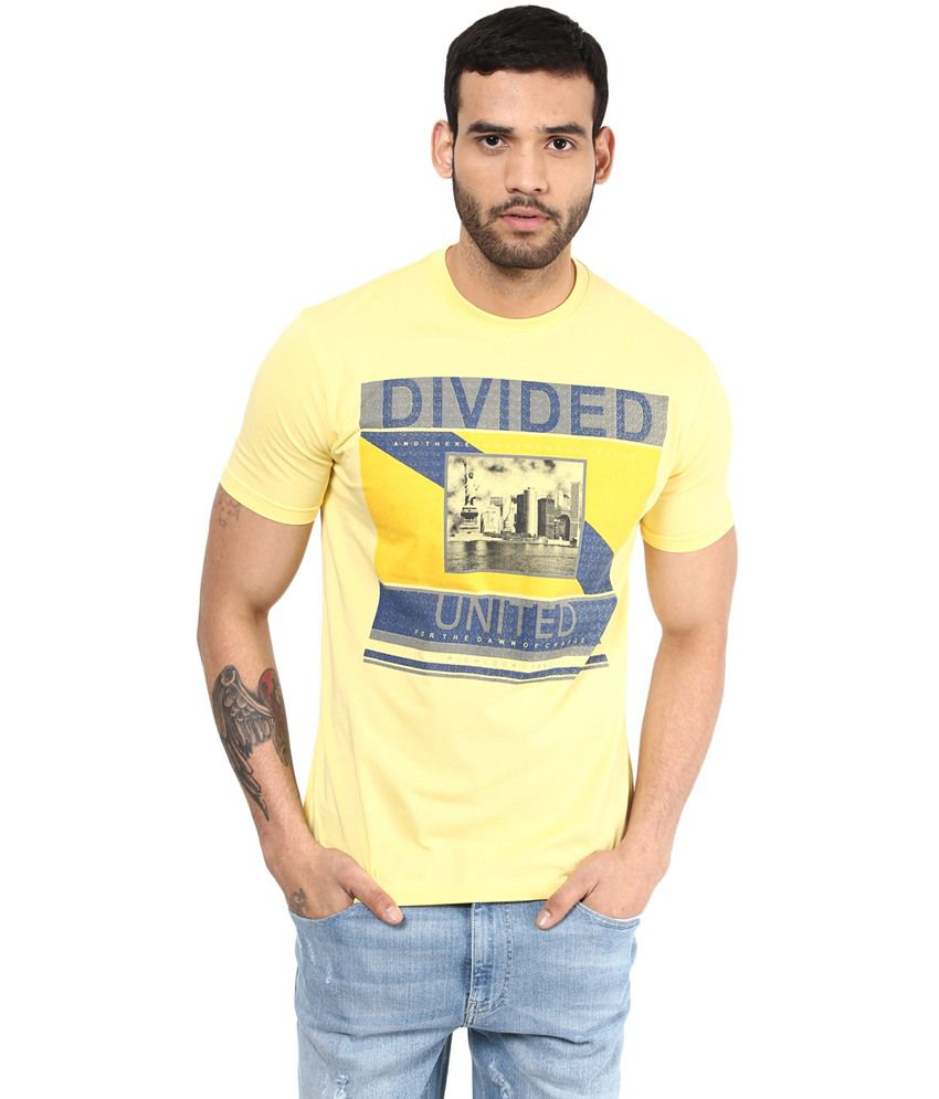 Richlook Cotton Yellow Round T Shirt