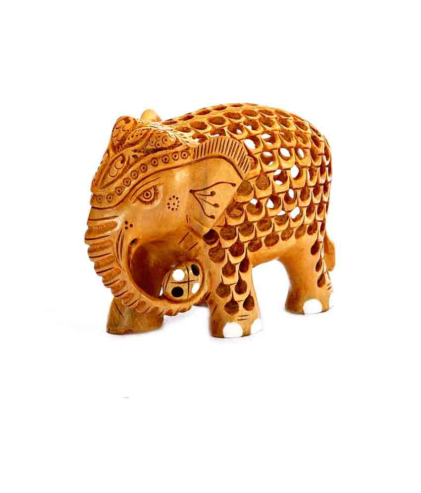 Aapno Rajasthan Wooden Mother Elephant With Baby Elephant Showpiece