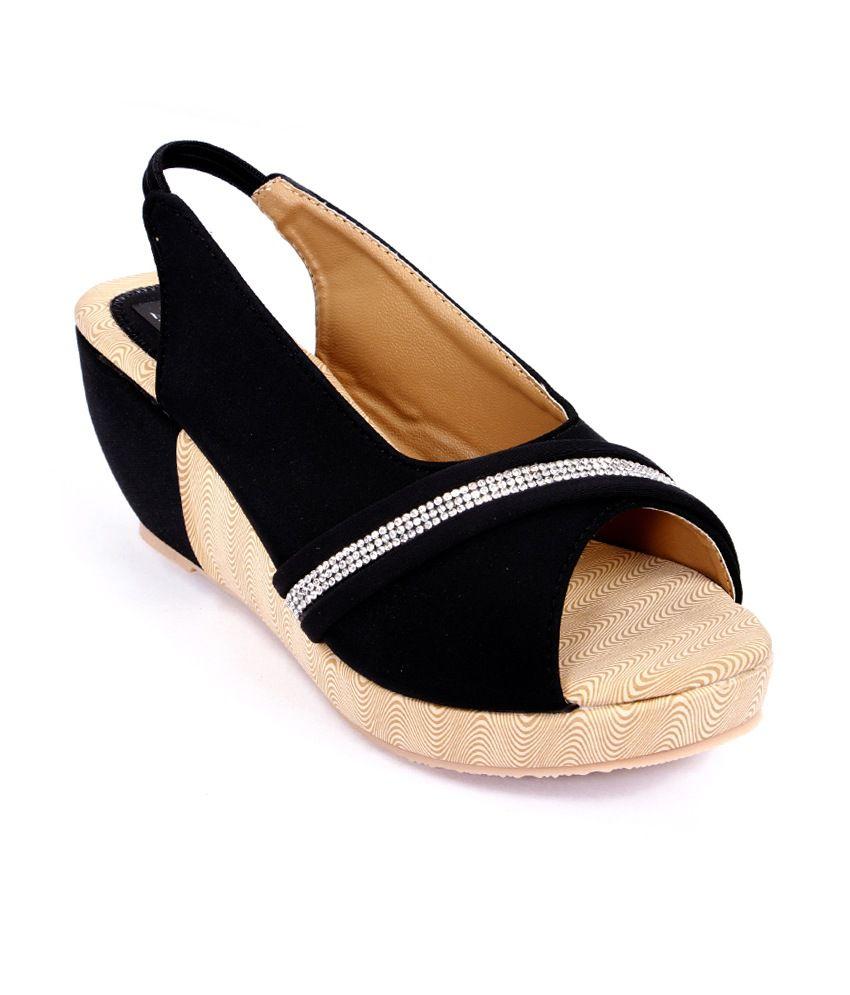 Harsh Foot Wear Black High Heel Open Toe Patent Party Wear ...