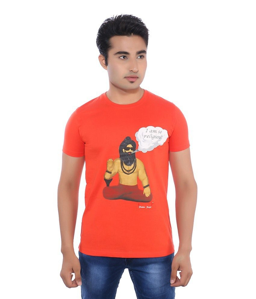 Pavitra Paapi Red Cotton T Shirt