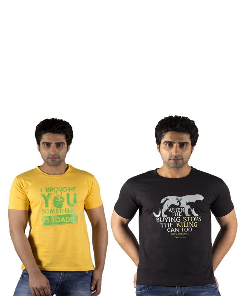 Schonheits Yellow And Black Cotton Blend T-shirts (Combo Of 2)