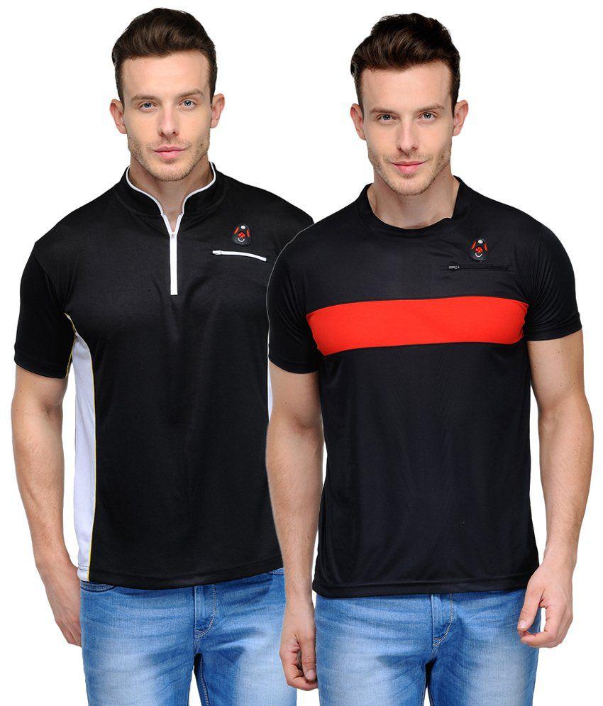 Scott Crackle Sulphur Dryfit Appealing Pack of 2 Black Half Sleeve T Shirts for Men
