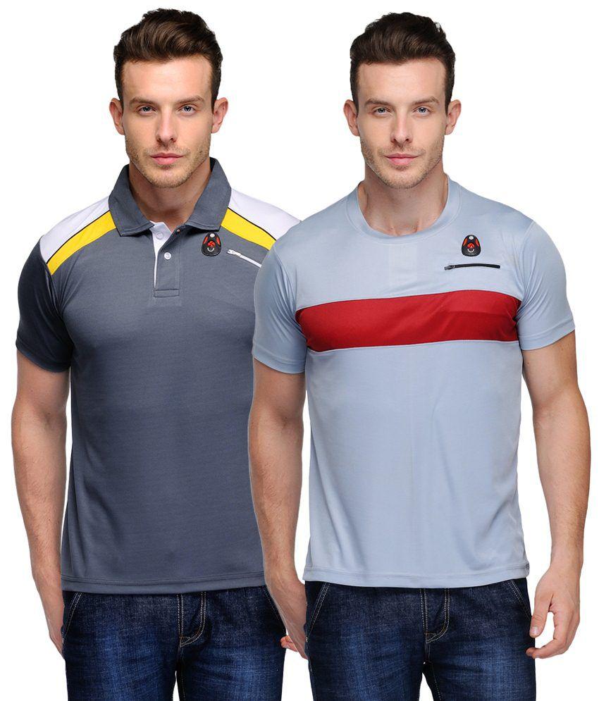 Scott Crackle Sulphur Dryfit Pack of 2 Gray Half Sleeve T Shirts for Men