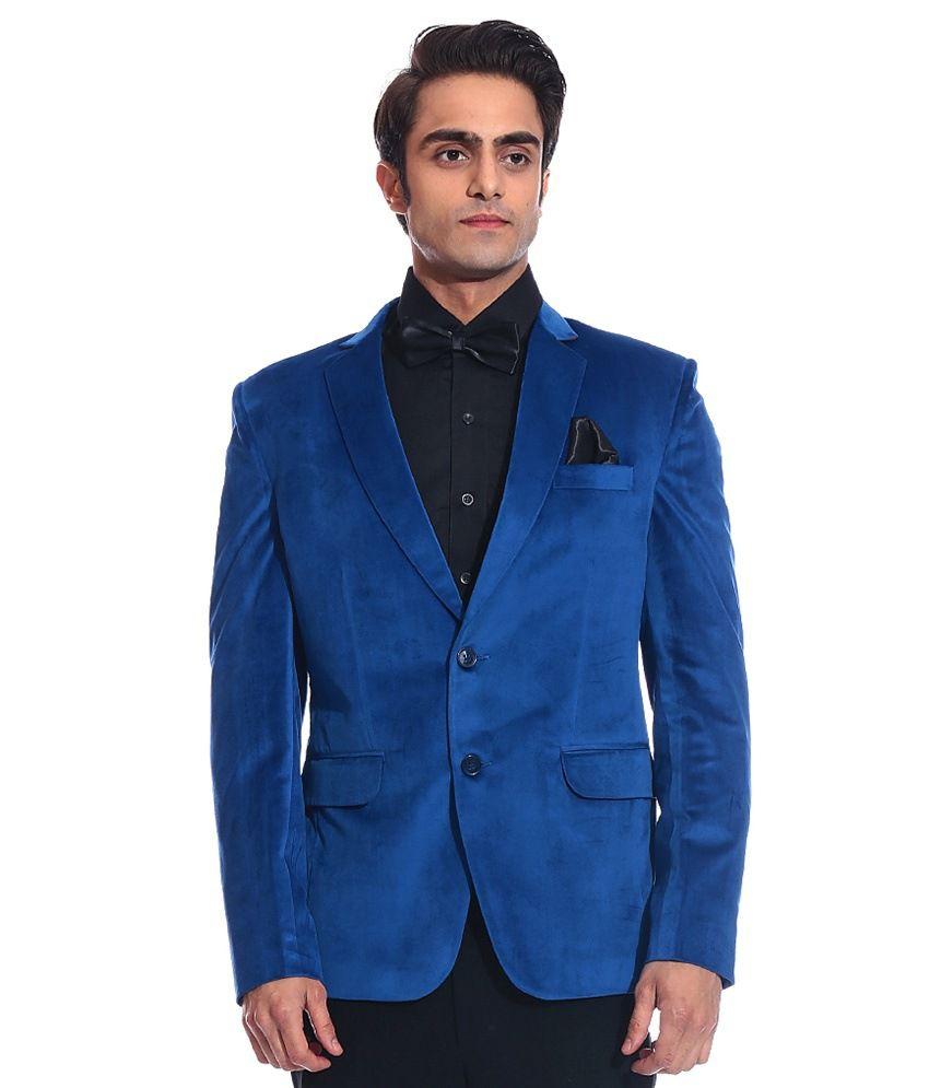 Tag 7 Blue Velvet Blazer For Men