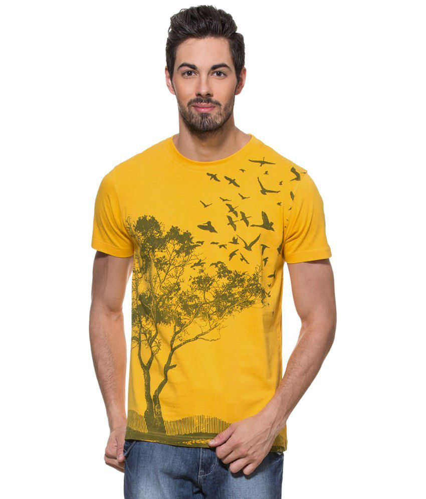 Zovi Yellow Countryside Sunset Graphic T Shirt for Men
