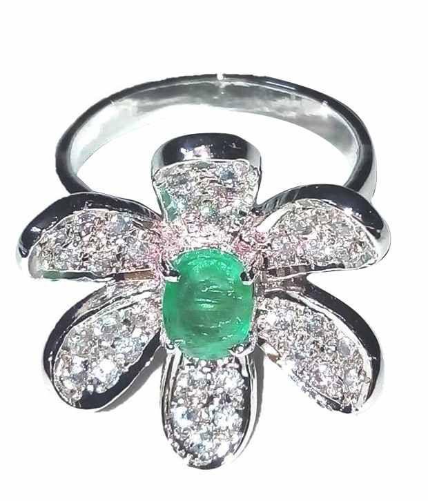 Asz Gems Silver Emrald Ring