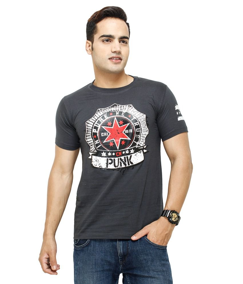 Fashion Enterprises Gray Color Men's Printed T Shirt
