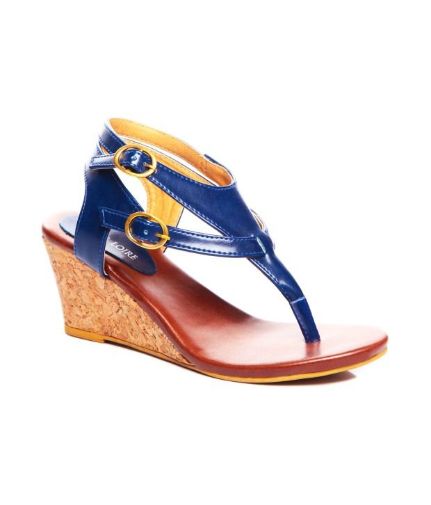 Marc Loire Blue Patent Wedges Heel Small Back Strap Sandal