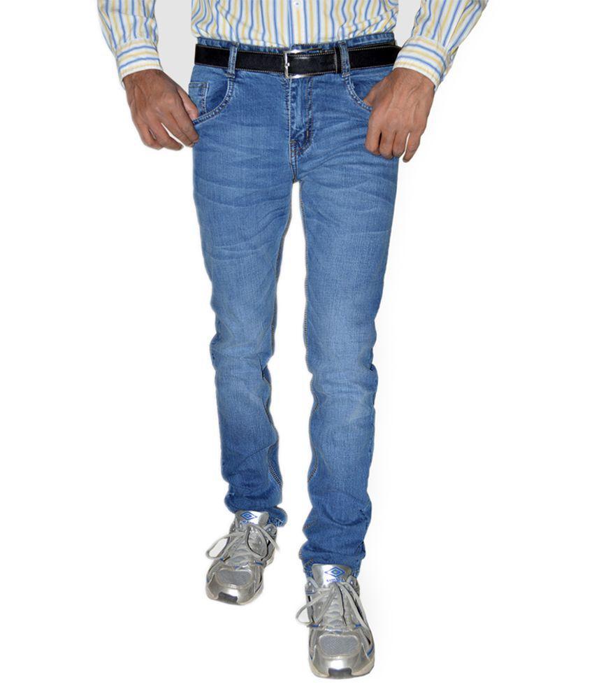 Mynte Blue Cotton Blend Faded Slim Fit Jeans