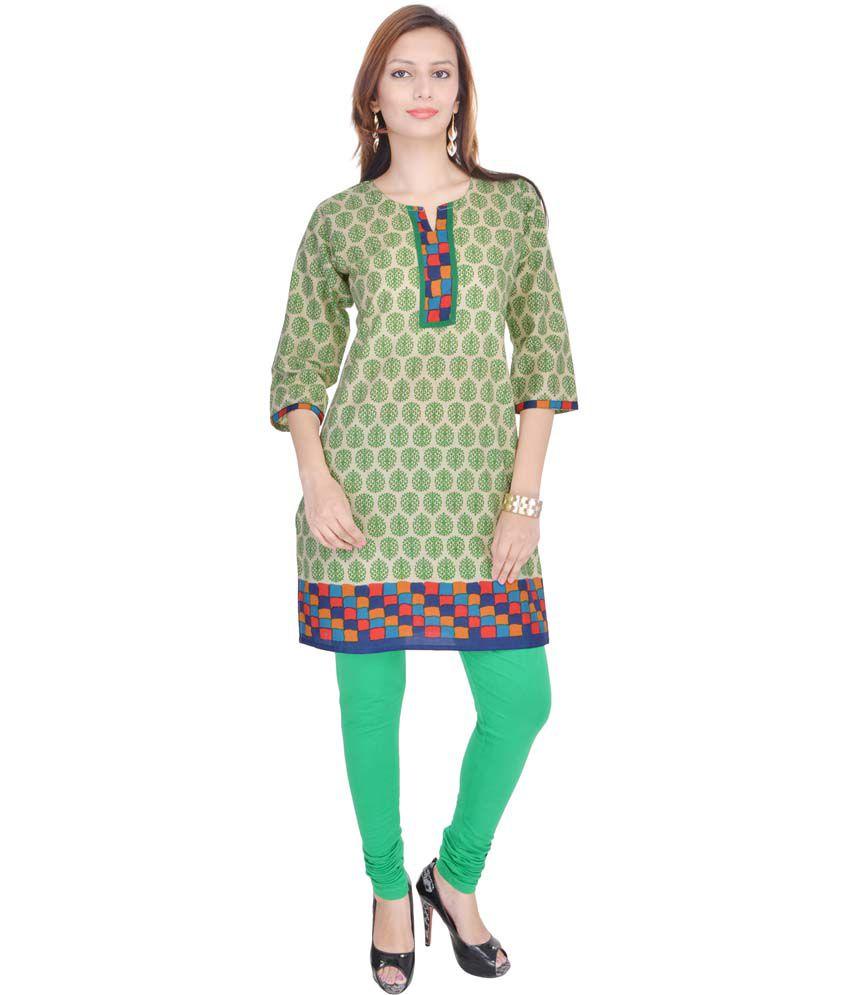 OSSPL Green Cotton Kurti