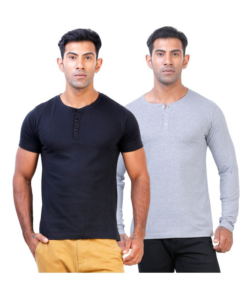 Street Junkies Black and Grey Melange  combo of 2 Henley T-Shirts