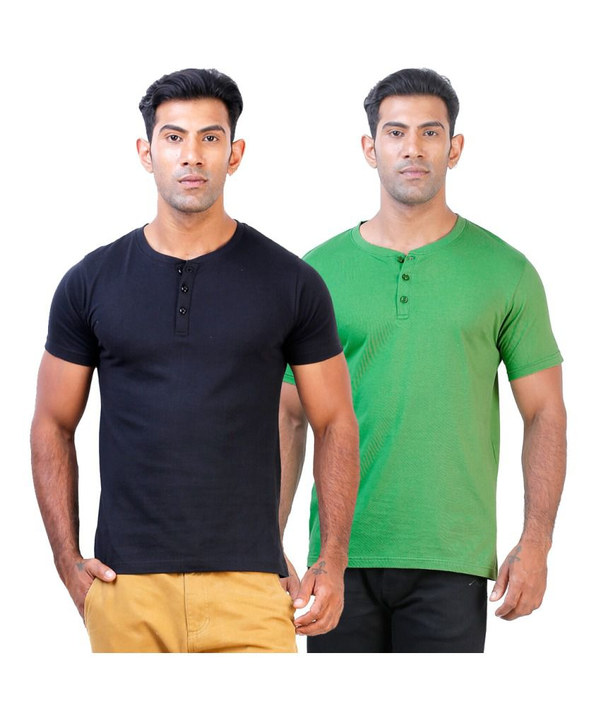 Street Junkies Black and Pista Green  combo of 2 Henley T-Shirts