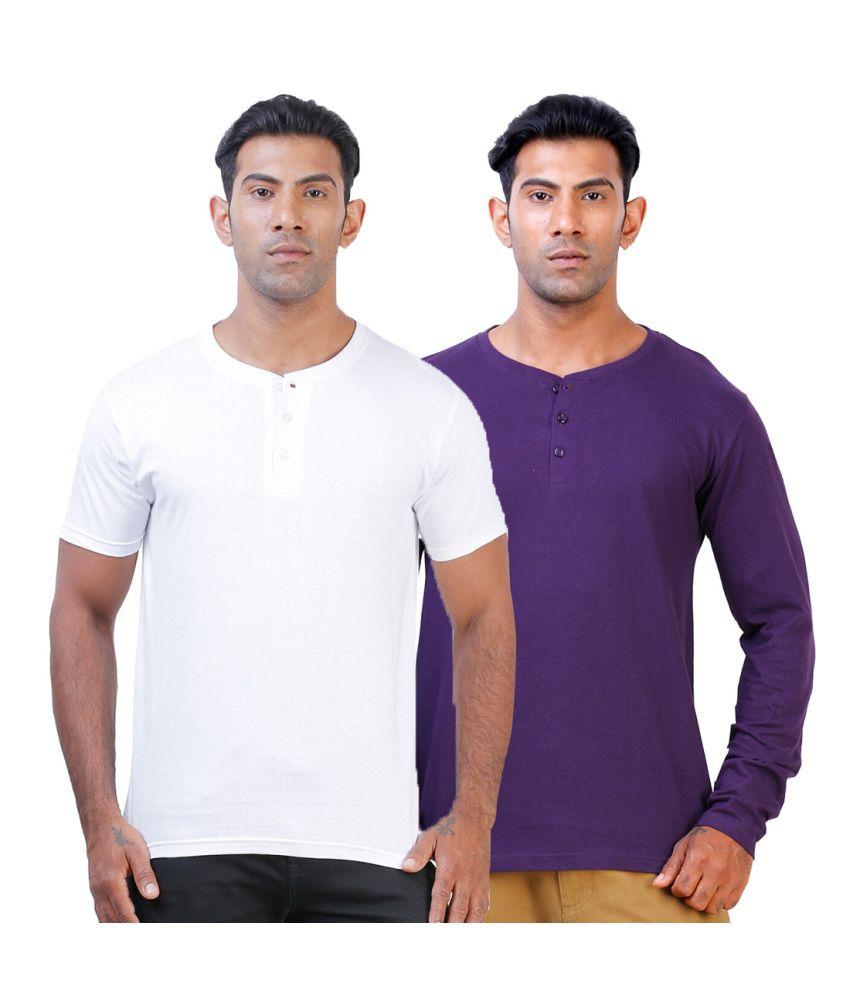 Street Junkies Whiteand Purple combo of 2 Henley T-Shirts