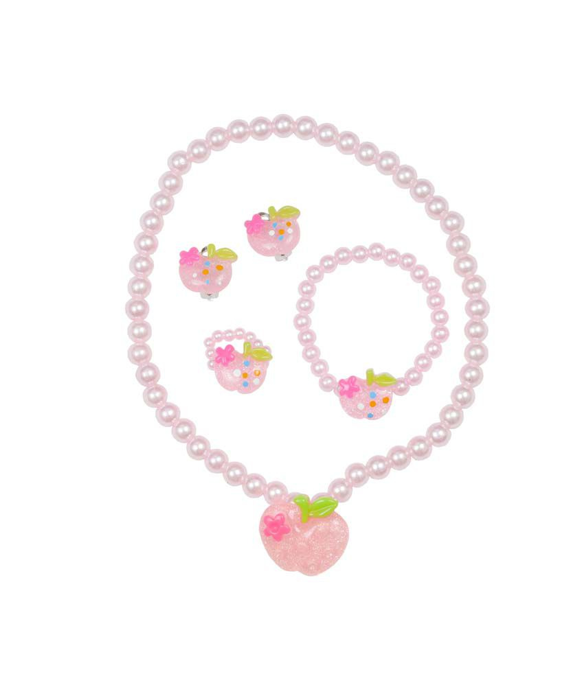 Angel Glitter Mummas Cute Apple Pie Pink Pearl Necklace Set