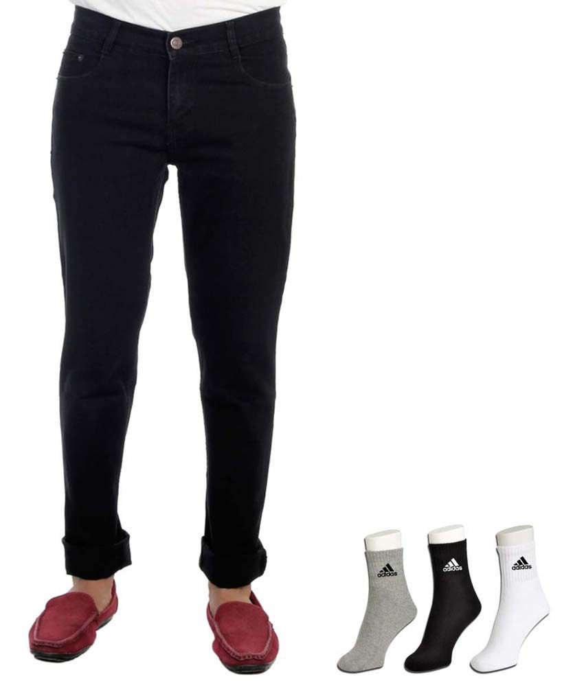 Haltung Black Cotton Blend Regular Basics Jeans With Free Adidas Socks