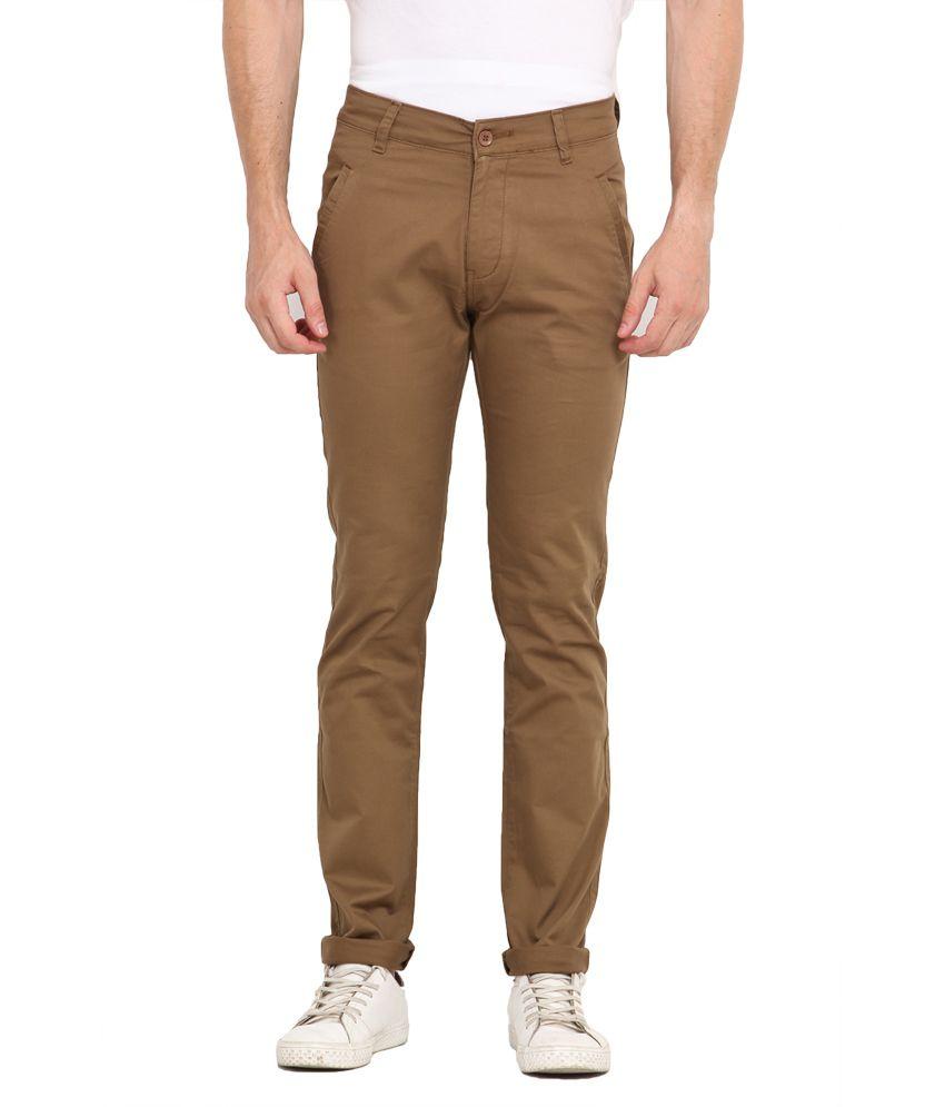 John Pride Khaki Cotton Chinos Style Trouser