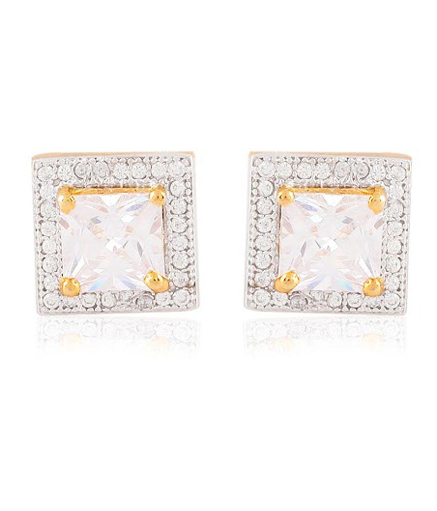 Cuzibox Antique White Brass Push Back Stud Earrings