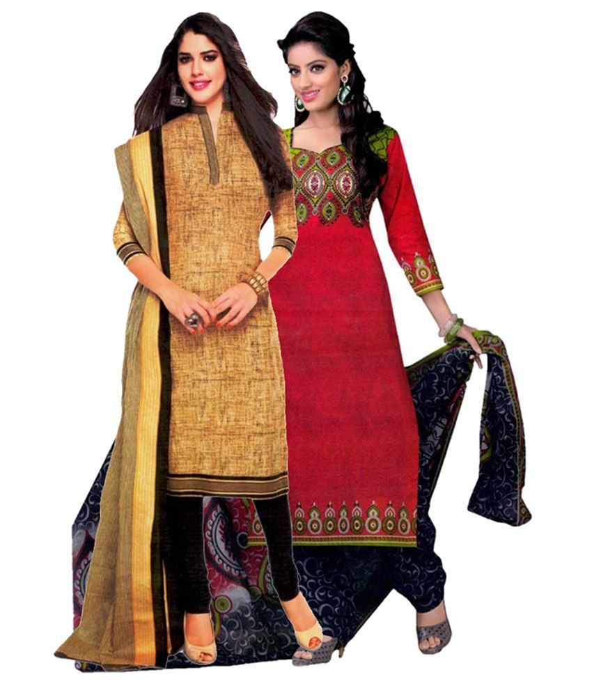 Miraan Multicoloured Cotton Unstitched Dress Material
