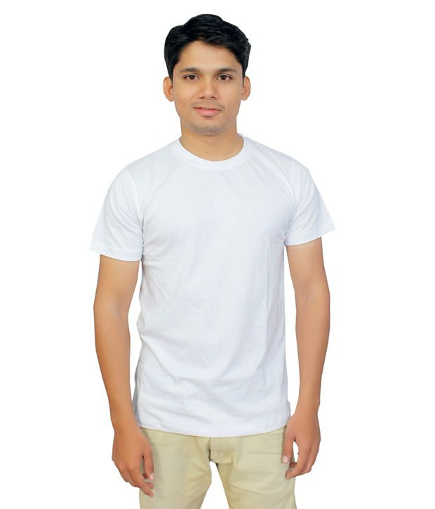 Shivaist Infosoft White Cotton Round Neck T-shirt