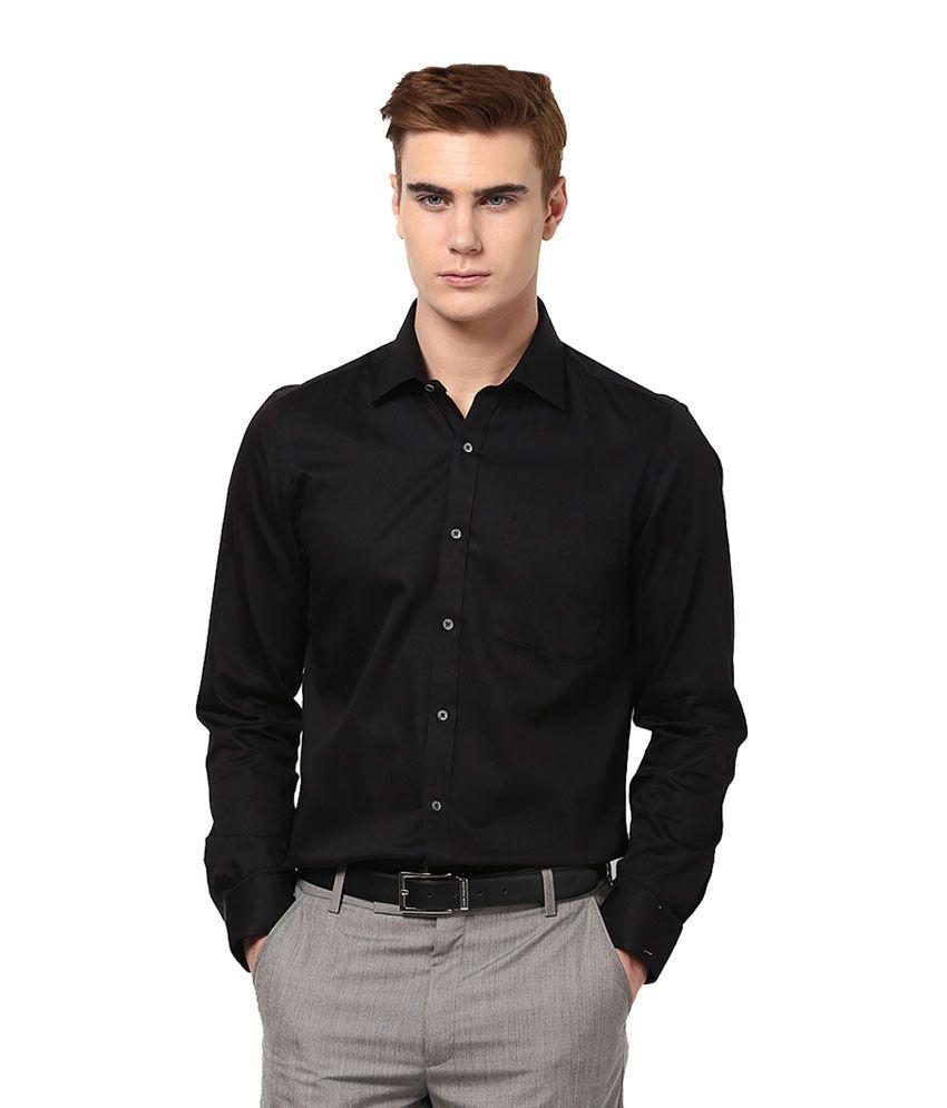Ethiculture Black 100 Percent Cotton Full Sleeves Regular Shirt